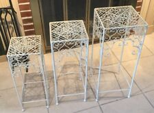 Set of 3 Stacking Nesting Rod Iron Side Tables for Deck Patio Cream