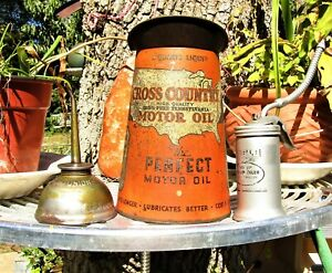 VINTAGE CROSS COUNTRY OIL CAN + EAGLE TRIGGER PUMP + UNION 'CLICKER'