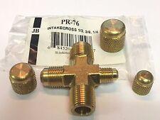 """JB Industries Vacuum Pump Intake Cross, PR-76, 1/2"""", 3/8"""" & 1/4"""" Male Flare"""