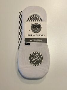New Men's PAIR OF THIEVES Cushion NO SHOW SOCKS (3 PAIRS) Size 8-12 WHITE