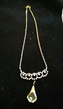 Vintage look czecho czech  Yellow crystal Rhinestone Prom Necklace FREE shipping