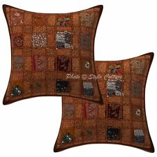 """Indian Patchwork Cushion Cover Home Decorative Cotton Pillow Case Cover Pair 16"""""""