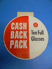 VINTAGE 1960'S NARRAGANSETT BEER CASH BACK PACK BOTTLE SIGN DISPLAY CRANSTON RI