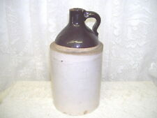 Antique Stoneware Jug Brown and Tan One Quart