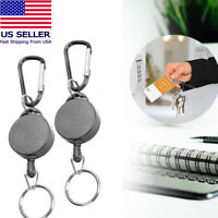 "2Pcs 27"" Retractable Key Chain Reel Recoil Pull Badge Reel With Key Ring Rope"