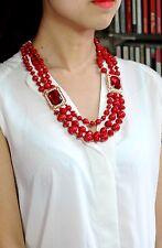 Collier Mi Long Doré Multirang Perle Rouge Retro Mariage QT 3