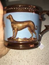 English Agricultural Greyhound Whippet Dog Antique Copper Lustreware Can Mug