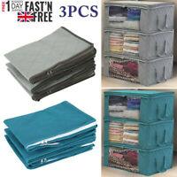 3X Foldable Storage Bag Fabric Folding Zip Square Clothes Closet Organizer FN