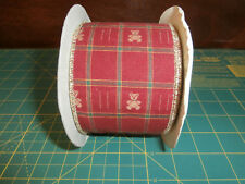 """Wired Ribbon 2.75"""" x 5 Yards Red Gingerbread Bear Christmas Brown Red Green"""