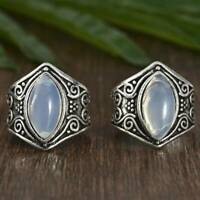 925 Silver Ring Woman Man White Fire Opal Moon Stone Wedding Engagement Size6-11