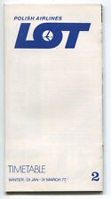 LOT POLISH AIRLINES WINTER TIMETABLE JANUARY - MARCH 1977 POLAND