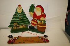 Vintage 1980 Handmade Painted Christmas Decorations 3 pieces