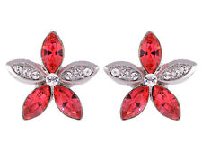Crystal Elements Deep Pink Tropical Hibiscus Flower Button EarRing ALAs