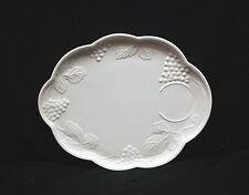 Old Vintage Harvest Milk Glass Colony Snack Plate w Grapes & Leaves Pattern MCM