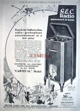 1932 HMV 'Carnival Model' Electric Radio Gramophone Advert - Art Deco Print Ad