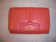 COACH ASHLEY TEAROSE PLEATED LEATHER COMPACT CLUTCH WALLET 48068 NWT