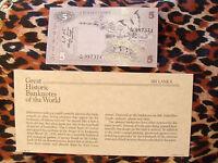 Great Historic Banknotes SRI LANKA 5 RUPEES 1979 P 84 CEYLON UNC prefix F/16