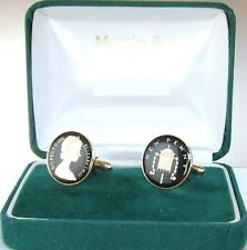 coins in Black and Gold 1981 One Pence cufflinks from real