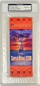 1989 Super Bowl XXIII 23 Joe Montana Signed Replica Ticket PSA/DNA Auto Grade 10