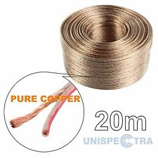 20m Pure Copper Loud Speaker Wire Cable 2x1,0mm OFC Oxygen Free Home & Car Audio