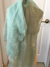 VTG 100% Mohair MINT GREEN Sheer Lacy Shawl Scarf ~ ENGLAND~ BLOOMINGDALES
