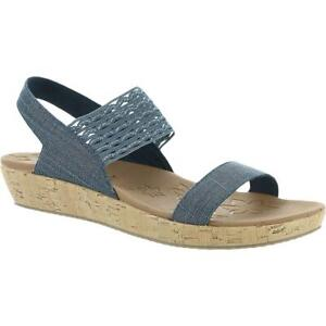 Skechers Womens Cali Brie-Most Wanted Navy Wedge Sandals 10 Medium (B,M) 7845