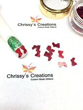 2 OZ. RED CHRISTMAS STOCKINGS or SANTA BOOTS * Glitter Spangles Nail Art Crafts