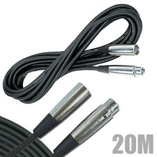 20M BLACK Microphone Lead Mic Cable XLR Patch Lead Balanced Band Stage PA DJ