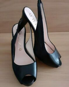 Unisa Woman's Black Leather Platformed Peep Toe Sling Back Sandal - Size 39 eu