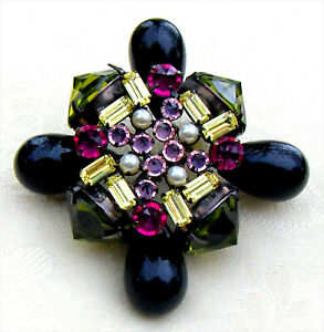 RARE SCHREINER BOOK PC Art Glass Stones Inverted Rhinestones Chunky Brooch Pin