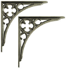 "Pair 9"" 24cm Medium Cast Iron Victorian Gothic Shelf Brackets antique decorative"