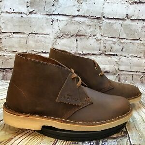 Clarks Womens Brown Leather Beeswax Two Eye Chukka Boots Size 8 M