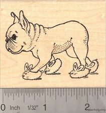 French Bulldog wearing Bunny Slippers Rubber Stamp J16503 Wood Mounted