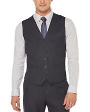 Perry Ellis Classic Fit Travel Luxe Mini Check Vest Navy Blue Small S Waistcoat