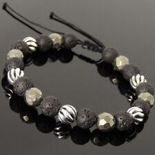 Men's Women Braided Bracelet Lava Rock Gold Pyrite Sterling Silver Bead 1062