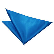 DQT Satin Plain Solid Electric Blue Formal Handkerchief Hanky Pocket Square