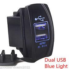 Blue LED 3.1A Car Motors Boat Dual USB Power Supply Charger Port Socket Adapter