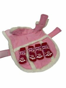 Dog Sweater Coat And Boots Pink Sherpa Top Paw