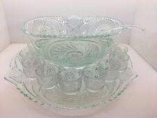 Vintage 15 pc Pressed Glass Star Burst Hobnail  Punch Bowl Set