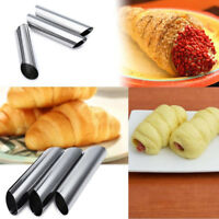 3Pcs Bakery Cupcake Baked Croissants Tubes Stainless Steel Spiral Baking Mold