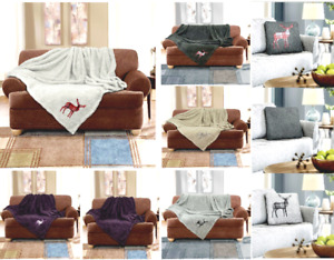 Teddy Stag Embroidered Fluffy Throw Or Cushion Cover Inner Soft Sofa Bed Blanket