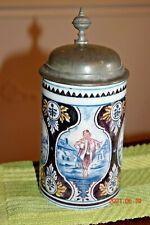 Antique Mettlach V&B Delft 5005 German Beer Stein, Pewter Lid, Dated 1893