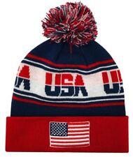 Zephyr Hats USA Finish Line USA Flag Knit Beanie Cap Hats w/ Pom Ski Winter Hat