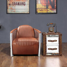 Vintage Aviator Aviation Pilot Sofa Chair 1 Seater 100% Real Leather Brown