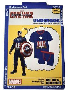 Underoos Boys Youth Captain America Shirt & Briefs Underwear Set NIB XS (4)