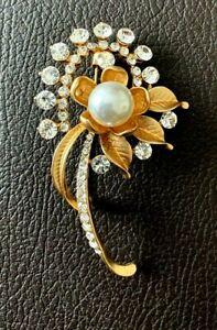 PIN BROOCH FLOWER MATT GOLD FINISH DIAMANTE CRYSTAL BOUQUET WEDDING BRIDAL NEW