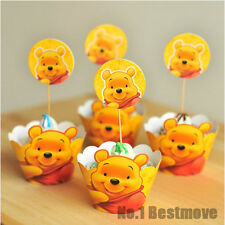 24Pcs Winnie The Pooh Paper Cupcake Wrappers & Toppers For Kids Birthday Party