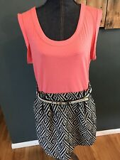 Women I Love Ronson Pink Black White Chevron Belted Dress Sz XL