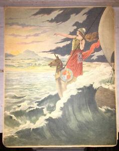 JOB. PLANCHE EN COULEURS pour LA PARTITION DE GOD SAVE THE QUEEN .1901.