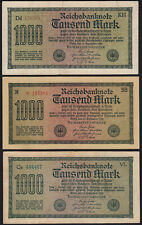 1922 Germany 1000 Mark Lot 3 Old Vintage Banknotes Paper Money Currency Notes